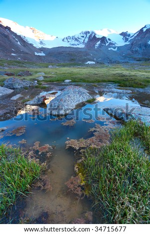 Beautiful mountain landscape with white tops - stock photo