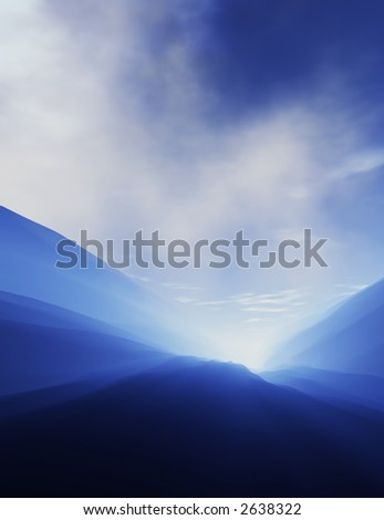 Beautiful mountain lanscape with the sun shining through the hills