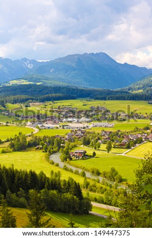 beautiful mountain meadows and villages in austrian Alps