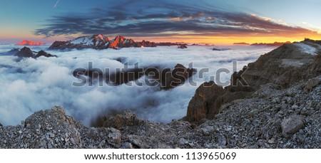 Beautiful mountain panorama in Italy Dolomiti - Glacier Marmolada - stock photo