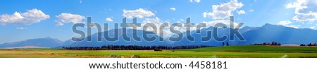Beautiful Mountain Panorama on Summer Afternoon - stock photo