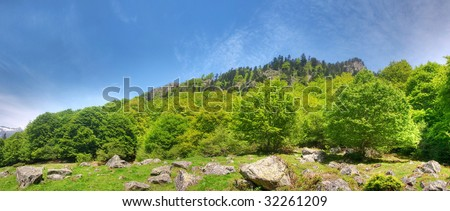 Beautiful mountain panoramic landscape in the French pyrenees hdr processed