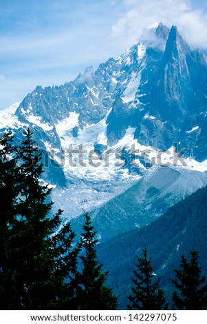 Beautiful mountain peaks with pines - stock photo