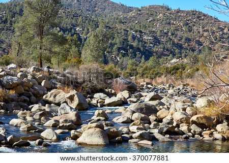 Beautiful mountain river with huge stones, USA - stock photo