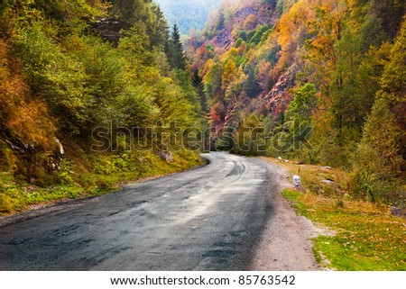 Beautiful mountain road in Parang, Romania