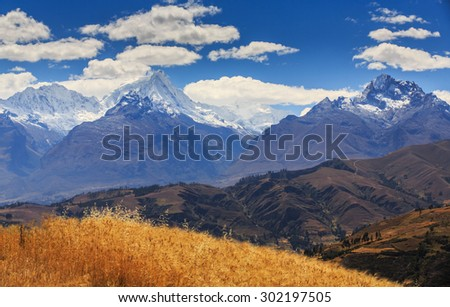Beautiful mountain scenery in the Andes, Peru