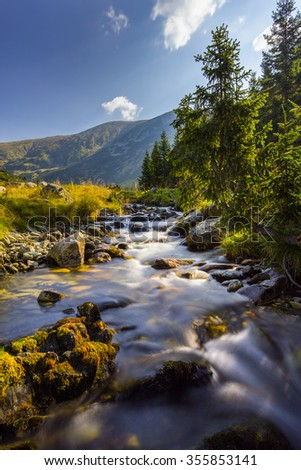 Beautiful mountain scenery in the Transylvanian Alps in summer - stock photo