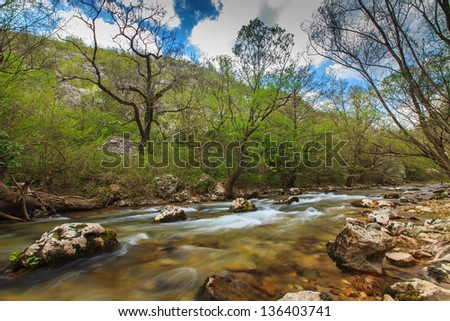 Beautiful mountain stream and rocks in a gorge in the Transylvania Alps - stock photo