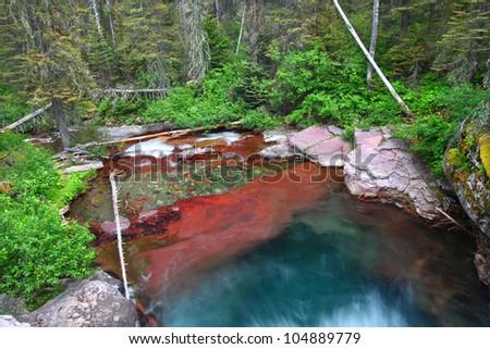Beautiful mountain stream in Glacier National Park in Montana - stock photo