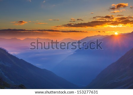 beautiful mountain sunrise - stock photo