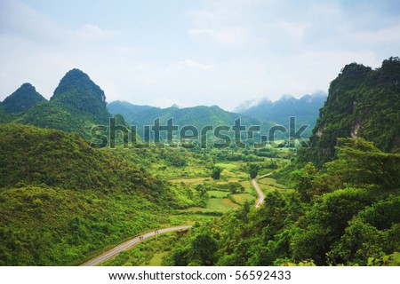 Beautiful mountain valley. Cao Bang province. Northern Vietnam.