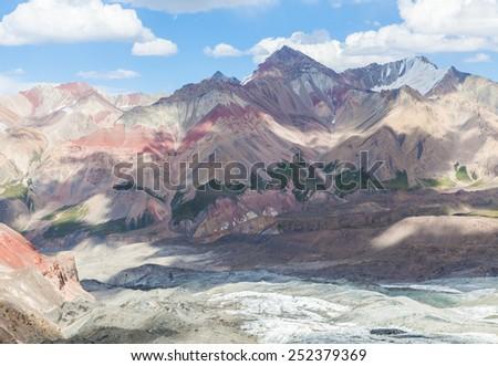 Beautiful mountain view in Pamir region, Kyrgyzstan - stock photo