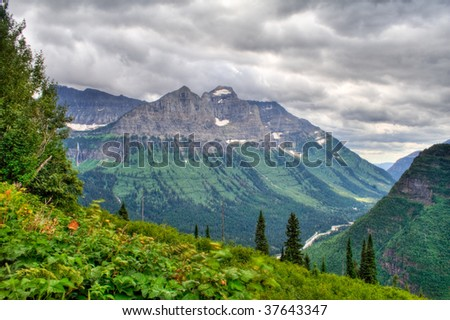 Beautiful mountain vista in Glacier National Park