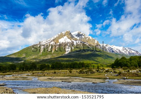 Beautiful mountain with snow of Ushuaia, province of Tierra del Fuego, Argentina - stock photo