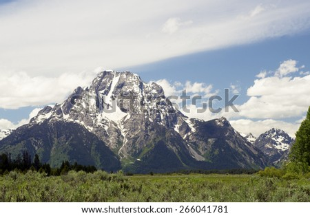 Beautiful mountains and landscape in the Grand Tetons. - stock photo