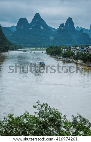 Beautiful mountains and river scenery