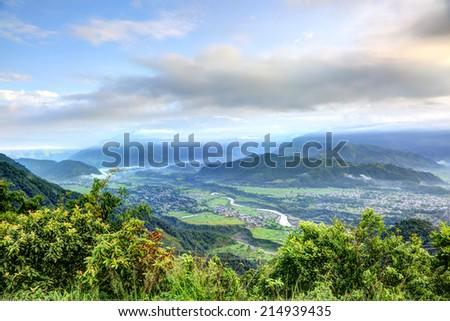 Beautiful mountains from Sarangkot mount  - stock photo