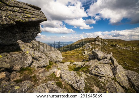 Beautiful mountains landscape in Carpathian. The Ukraine - stock photo