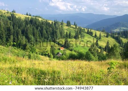 Beautiful mountains landscape in Carpathians, Ukraine - stock photo