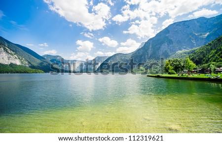 Beautiful mountains landscape of Hallstatt, village in Austria - stock photo