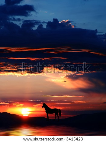 Beautiful mountains with horse silhouette and spectacular sunrise or sunset at Lake Tahoe in California and Nevada - stock photo