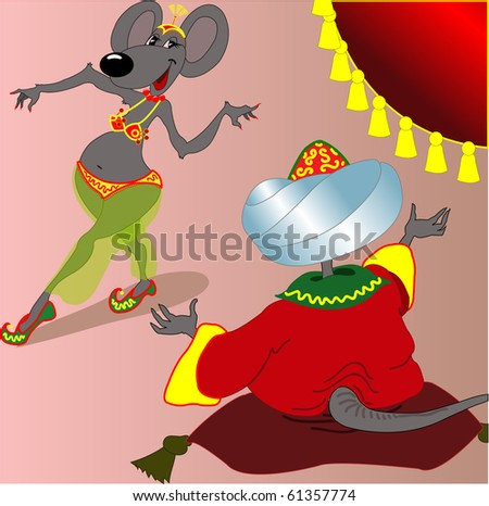 beautiful mouse-woman dances east dance  before a khan