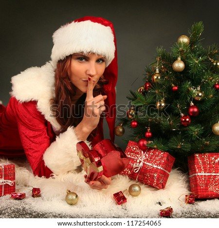 beautiful Mrs.Santa with christmas presents