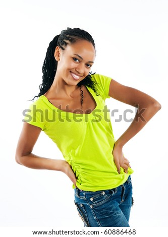 beautiful mulatto girl on white background - stock photo