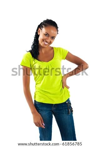 beautiful mulatto girl on white background - stock photo