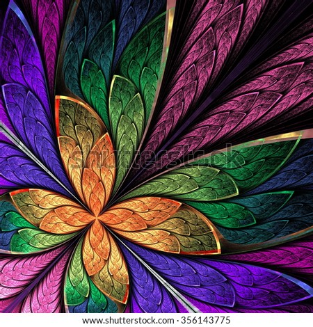 Beautiful multicolored fractal flower or butterfly in stained glass window style. You can use it for invitations, notebook covers, phone case, postcards, cards and so on. Computer generated graphics. - stock photo