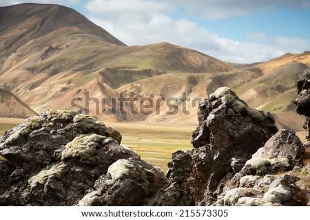Beautiful multicolored mountains at Landmannalaugar, Iceland - stock photo