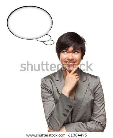 Beautiful Multiethnic Woman with Blank Thought Bubbles with Clipping Path Isolated on a White Background - Ready for Your Own Words or Pictures. - stock photo