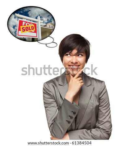 Beautiful Multiethnic Woman with Thought Bubbles of a Sold Real Estate Sign to a New Home Isolated on a White Background.