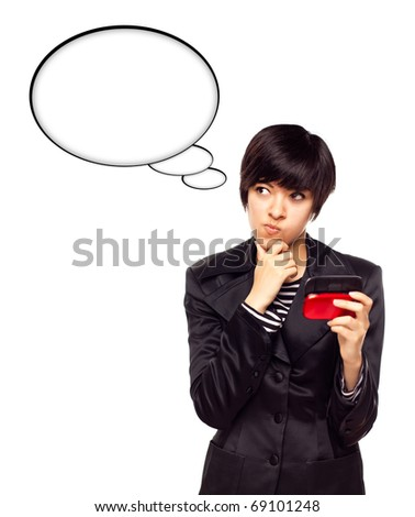 Beautiful Multiethnic Young Woman with Cell Phone and Blank Thought Bubbles Isolated on a White Background. - stock photo