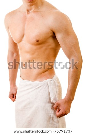 Beautiful muscular man after bath. - stock photo