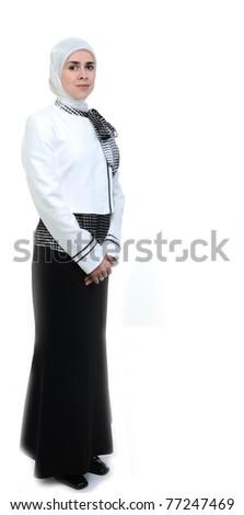 Beautiful Muslim female person, full length isolated - stock photo