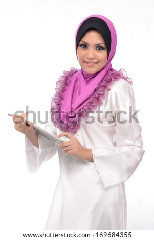 Beautiful Muslim Girl With Tablet