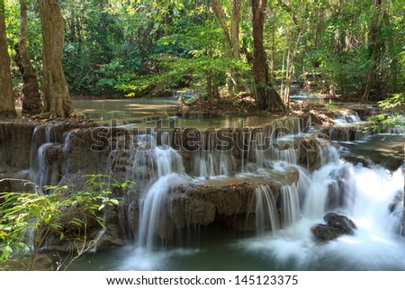 Beautiful Muti Layer Waterfall Deep Forest in Thailand - stock photo