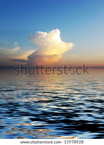 Beautiful mystery cloudscape and its reflection in the water. Great background