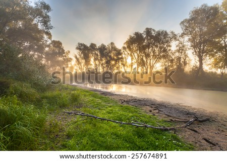 Beautiful mystical landscape in yellow orange and red colors at sunrise - stock photo