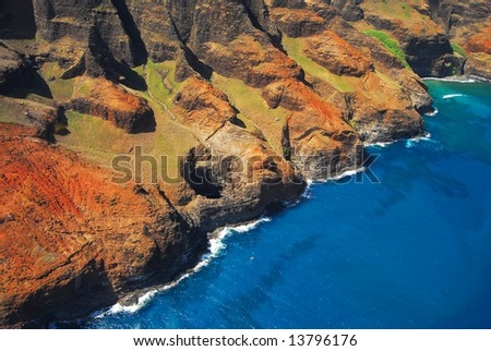 Beautiful Na Pali coastline in Hawaii
