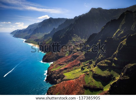 Beautiful Na Pali Coastline on the Hawaiian island of Kauai - stock photo