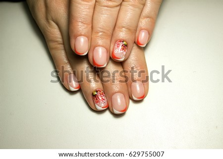 Beautiful nail design french manicure red stock photo 629755007 beautiful nail design french manicure with red flower and rhinestones prinsesfo Images