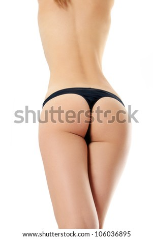 Beautiful naked body of woman exposing bottom and back side. Isolated on the white background. - stock photo