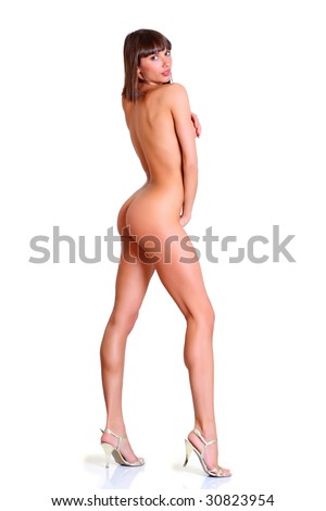 Beautiful naked girl in a profile, isolated on a white background, please see some of my other parts of a body images - stock photo
