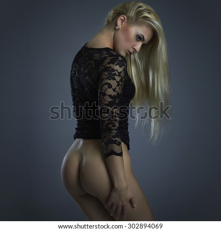beautiful naked woman. nude girl. sexy young lady - stock photo