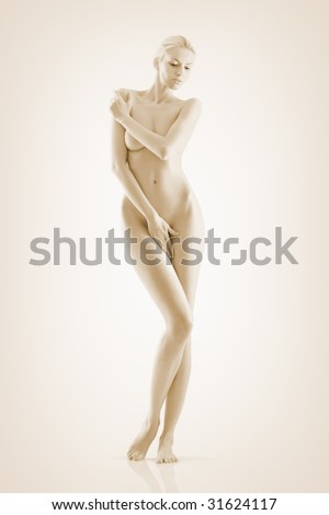 Beautiful naked woman poses covering itself hands - stock photo