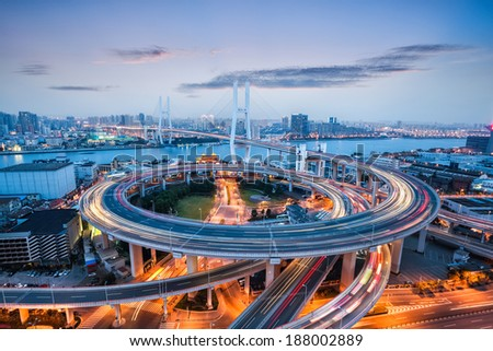 beautiful nanpu bridge at dusk ,crosses huangpu river ,shanghai ,China  - stock photo