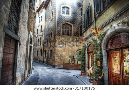 beautiful narrow street in Florence, Italy - stock photo