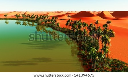 Beautiful natural background - African oasis - stock photo
